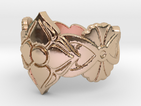Floral Ring Size 7 in 14k Rose Gold Plated