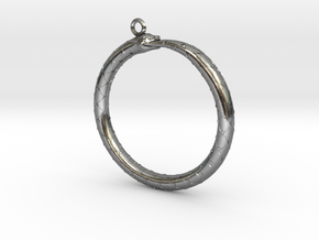Ouroboros Pendant in Polished Silver