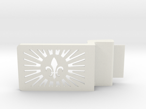 Fleur De Lis Belt Buckle in White Strong & Flexible