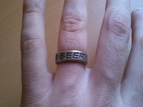 """""""NEED FOR BEER"""" Ring in Stainless Steel"""