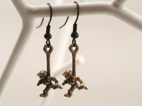 Running Robot Earrings in Polished Nickel Steel