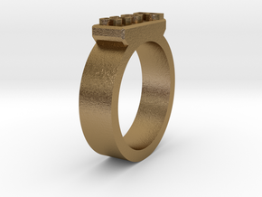 Boss Ring Size 11 in Polished Gold Steel