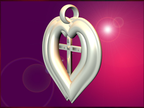 Twin Hearts with Crucifix pendant in White Strong & Flexible