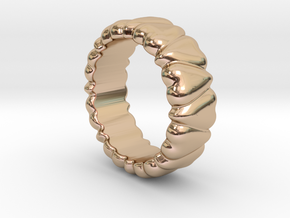 Ring Heart To Heart 20 - Italian Size 20 in 14k Rose Gold Plated
