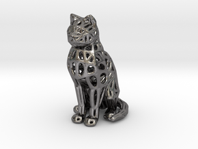 Cat Sitting in Polished Nickel Steel