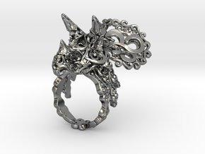Tricera Ring (Size 5) in Polished Silver