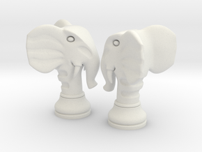 Pair Chess Elephant Big / Timur Pil Phil in White Strong & Flexible