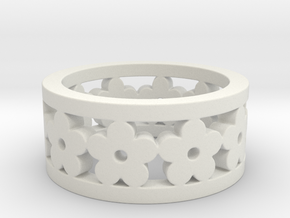 Flower Cut Ring Ring Size 7 in White Strong & Flexible