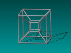 Tesseract (Hypercube) in Polished Metallic Plastic