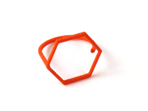 Hexagon ring shape. in Orange Strong & Flexible Polished