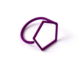 Pentagon ring shape. in Purple Strong & Flexible Polished
