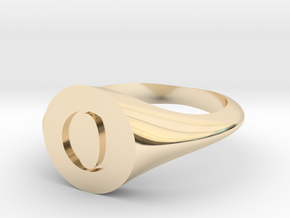 Letter O - Signet Ring Size 6 in 14k Gold Plated