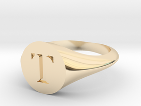 Letter T - Signet Ring Size 6 in 14k Gold Plated