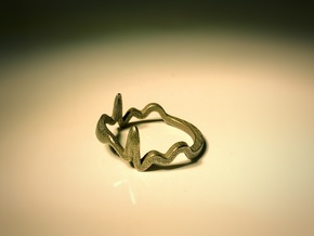 Ecg Ring (Size 13) in Polished Nickel Steel