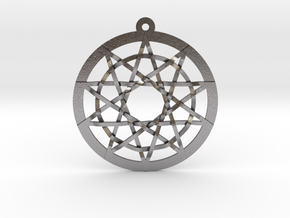 Woven Pentacles Large in Polished Nickel Steel