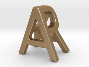 AR RA - Two way letter pendant in Matte Gold Steel
