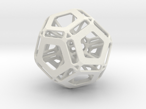 Dodecahedron (Inspired by nature) in White Strong & Flexible