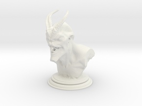 Demon head bust 01 in White Strong & Flexible