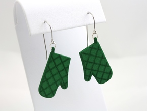Oven Mitt Earrings in Green Strong & Flexible Polished