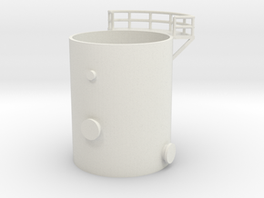 'N Scale' - Distillation Tower - Bottom Section in White Strong & Flexible