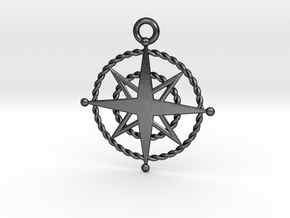 Compass Rose Keychain in Polished Grey Steel