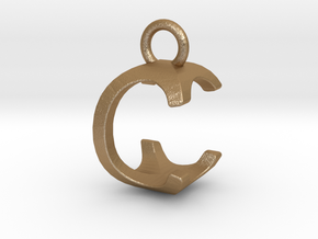 Two way letter pendant - CC C in Matte Gold Steel