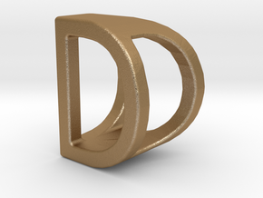 Two way letter pendant - DD D in Matte Gold Steel