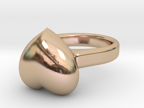 �15.41 mm - �0.606inch  Heart Ring in 14k Rose Gold Plated