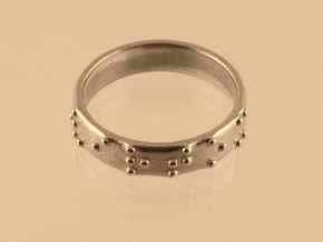 Braille ring 5mm in Polished Silver