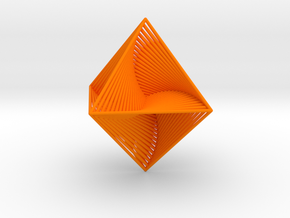 0047 Octahedron Line Design (4.6 cm) #001 in Orange Strong & Flexible Polished
