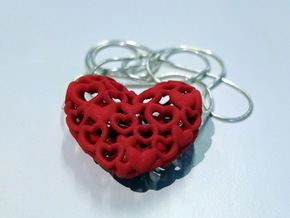 Heart By Heart 30mm wide Pendant in Red Strong & Flexible Polished