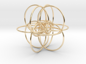 24-cell Stereographic projection, large in 14k Gold Plated