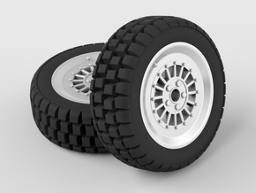 Hard mud tire for 1/24 scale model car in Black Strong & Flexible