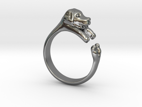 Puppy Dog Ring - (Sizes 4 to 15 available) Size 9 in Polished Silver
