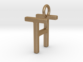 Two way letter pendant - HT TH in Matte Gold Steel