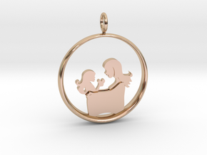 Motherhood Pendant - Mother Daughter 3 - (Medium) in 14k Rose Gold Plated