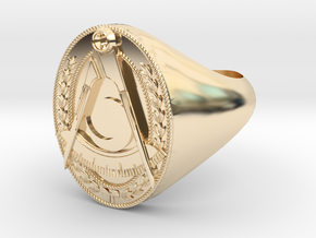 Masonic District Deputy Jewel Ring in 14k Gold Plated