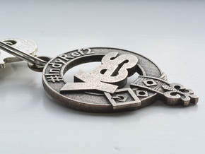 Clan Yes key fob in Polished Bronze Steel