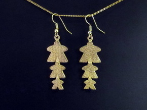 "Meeple Earrings ""tri-meeple"" in Polished Gold Steel"