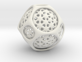 Awesome Trapped  Sphere Inside Trunkated Octohedro in White Strong & Flexible