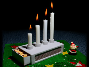 Advent candle- and match holder. in Sandstone