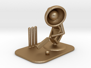 "Lala ""Playing Cricket"" - DeskToys in Matte Gold Steel"