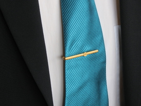 Bitcoin Tie Clip Simple in Polished Gold Steel