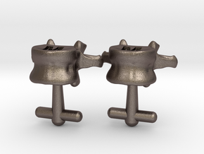 Lumbar Vertebra Cufflinks Inscribed with M and M in Stainless Steel