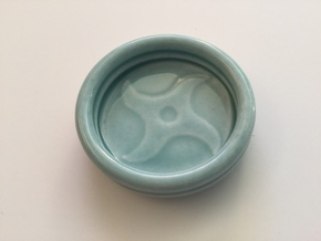 Shuriken Thowing Star Porcelain Dipping Bowl in Gloss Celadon Green Porcelain