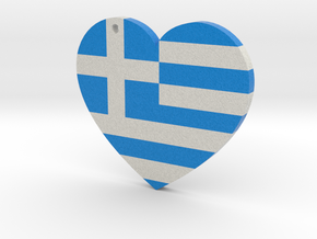 Greek Flag Heart with hole in Full Color Sandstone