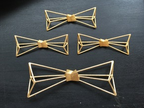 Bow Tie Metal Necklace in Polished Gold Steel