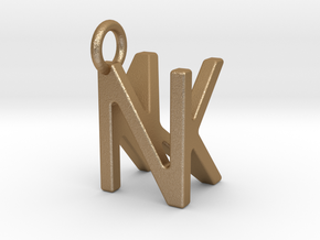 Two way letter pendant - KN NK in Matte Gold Steel
