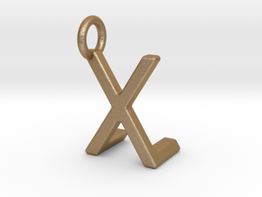 Two way letter pendant - LX XL in Matte Gold Steel