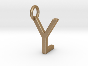 Two way letter pendant - LY YL in Matte Gold Steel